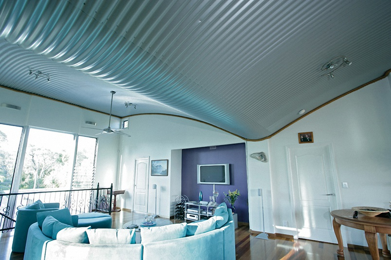 A Stramit ceiling installation.