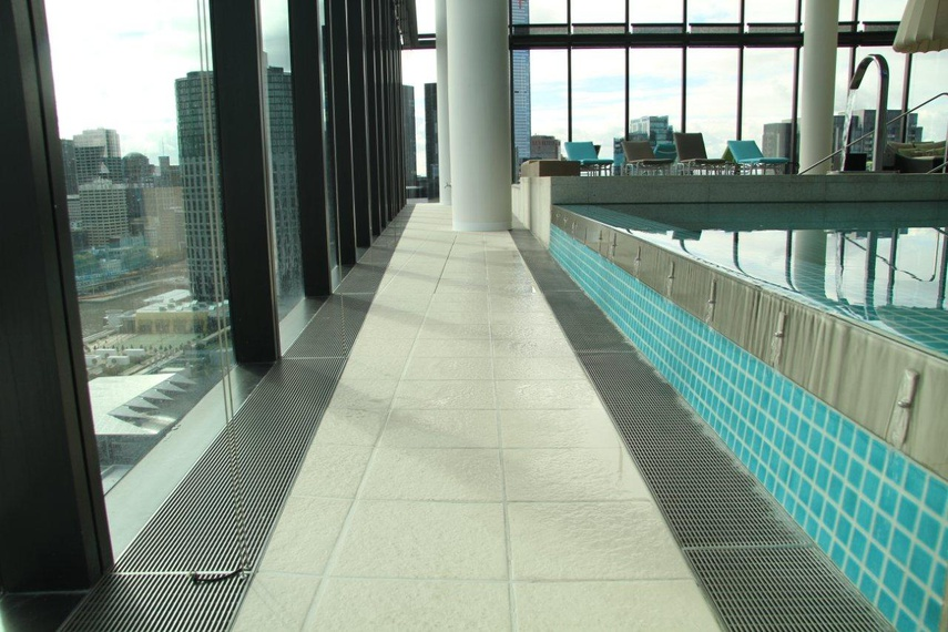 Custom grate in a commercial pool.