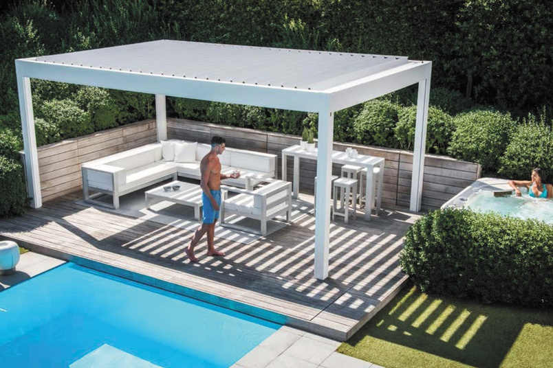 renson camargue pergola by shadewell awnings and blinds selector. Black Bedroom Furniture Sets. Home Design Ideas